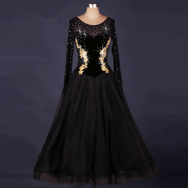 bd2fd0fa164e Find More Information about Black Professional Standard Ballroom Dancing  Dress Modern Dance Costume Competition Clothing Waltz or Tango Dance Dresses  MQ009 ...