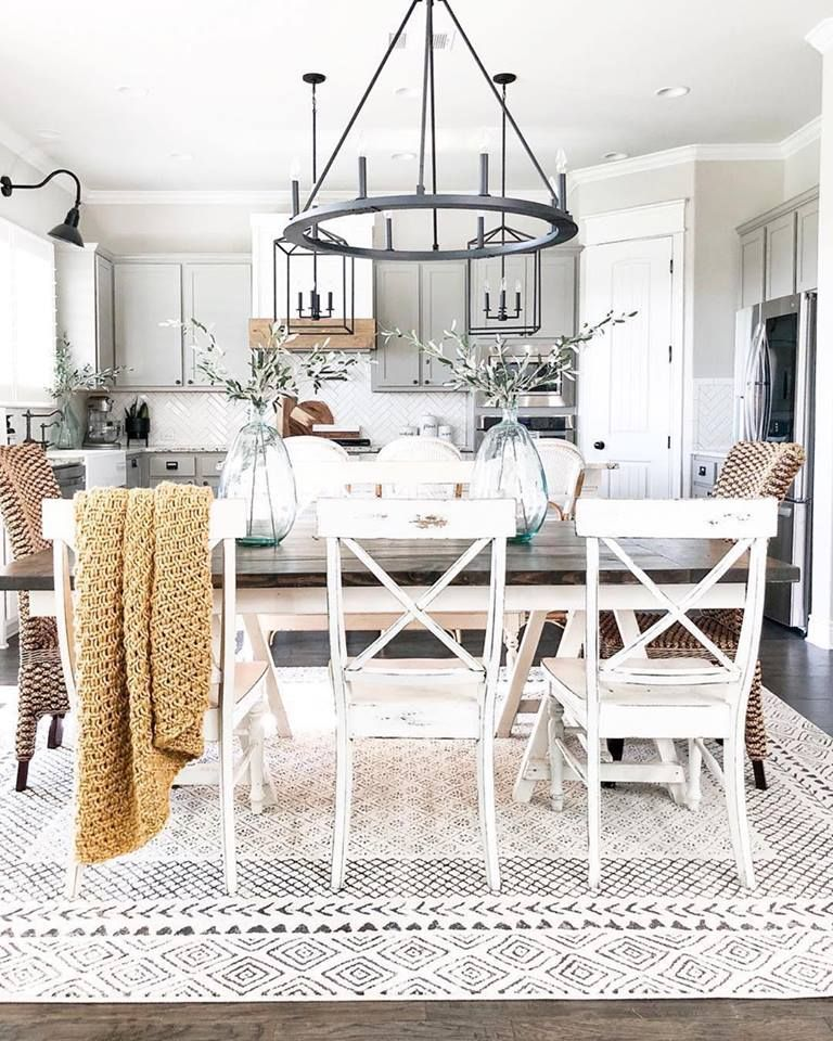 Our Faux Farmhouse Statement Area Rug Rug Under Dining Table Rug Under Kitchen Table Dining Room Design