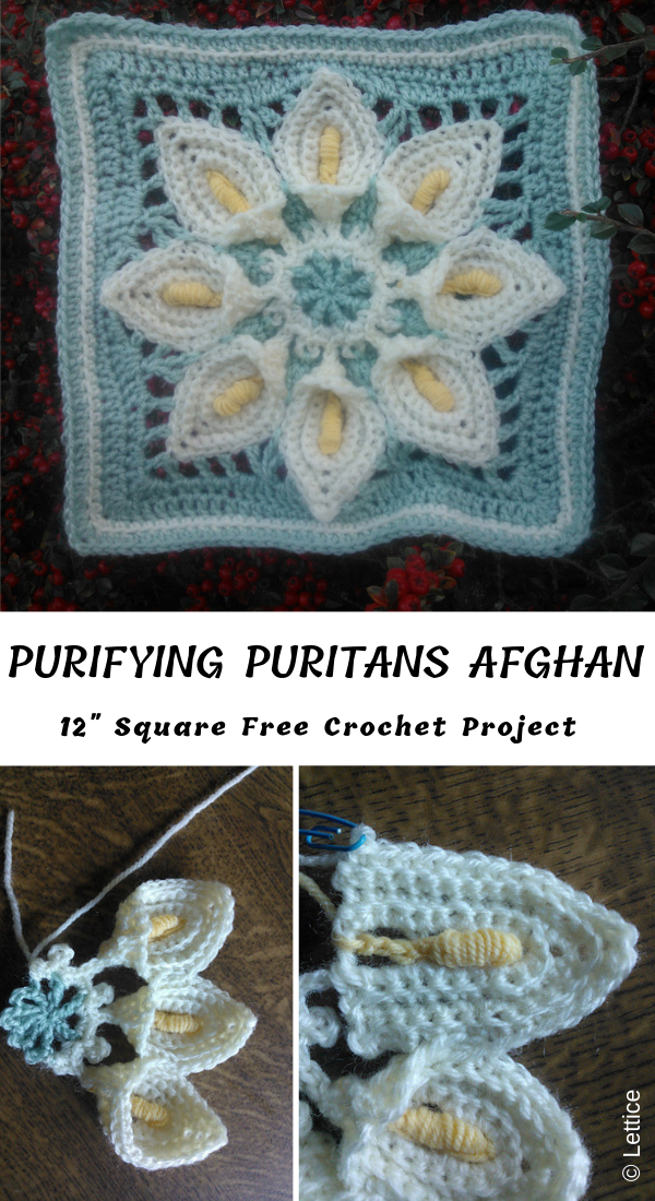 "Purifying Puritans 12"" Crochet Afghan Block"