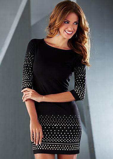 b09502b1fcd Short black studded dress w  elbow length sleeves