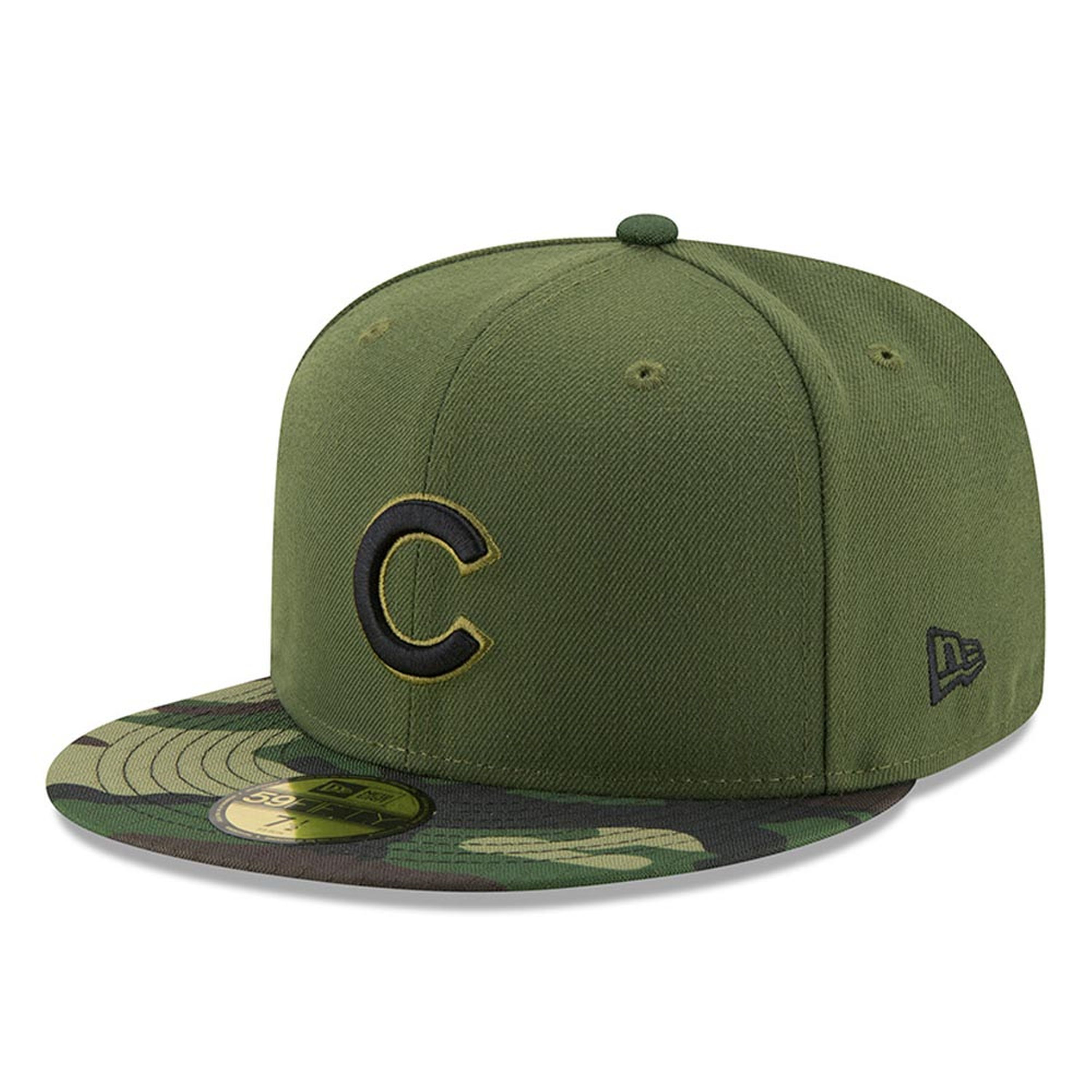 032a93ea9 Men's Chicago Cubs New Era Green 2017 Memorial Day 59FIFTY Fitted ...