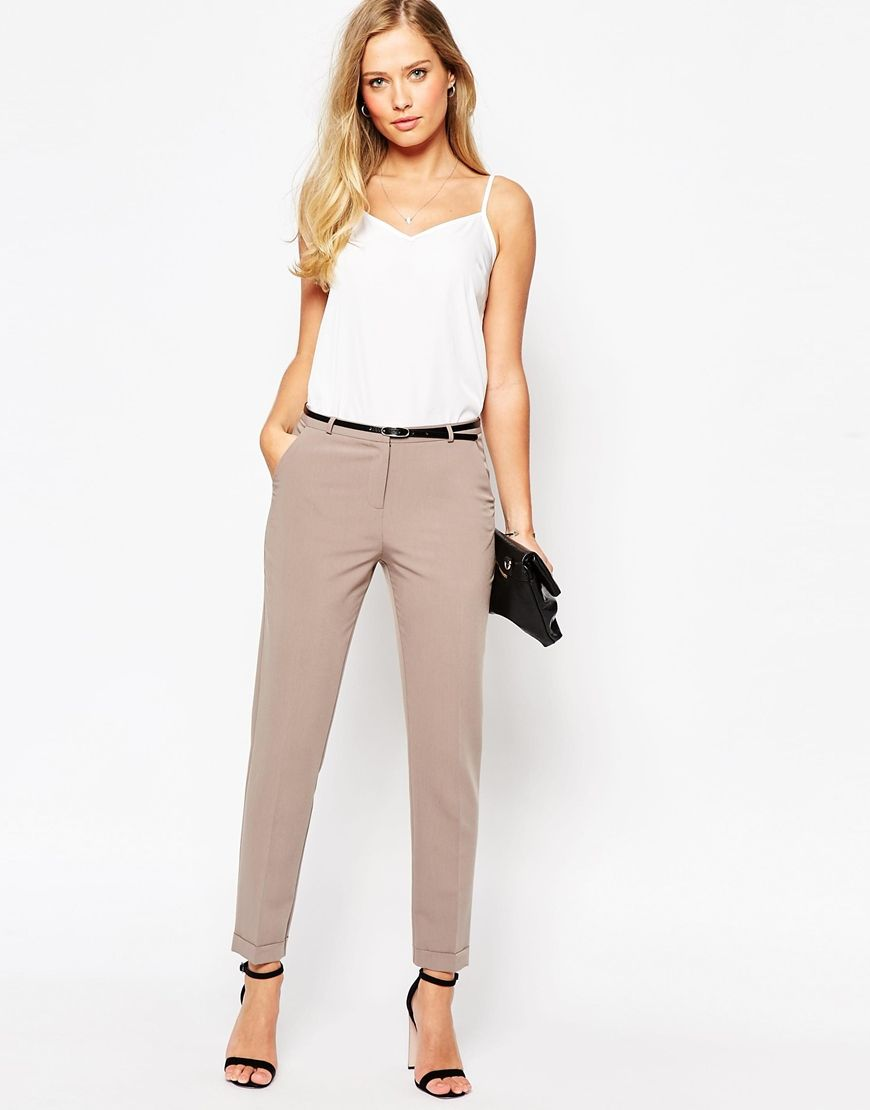 Image 1 of ASOS Cigarette Trouser With Belt