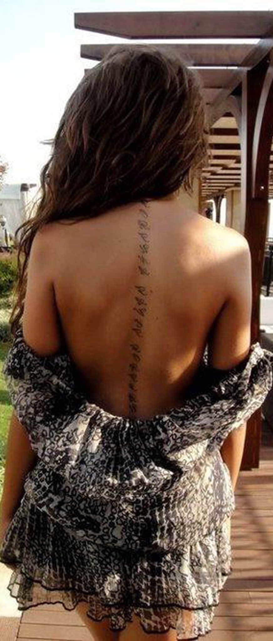 Script Quote Cursive Text Spine Tattoo Ideas for Women