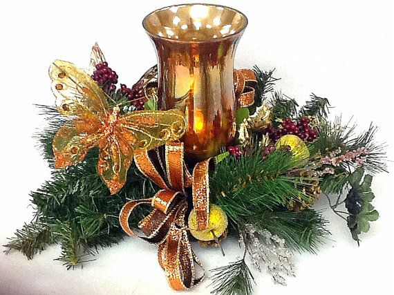 Candle Holder Centerpiece silk Floral by cabincovecreations, $69.95