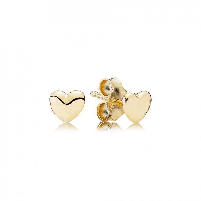 Fashion Pandora Earrings 14ct Gold Heart Stud