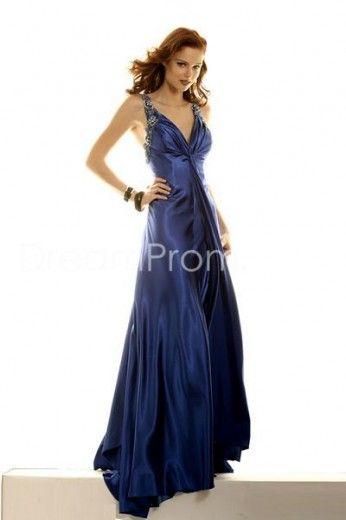 Elegant Affordable Lake Blue V Neck Prom Dresses