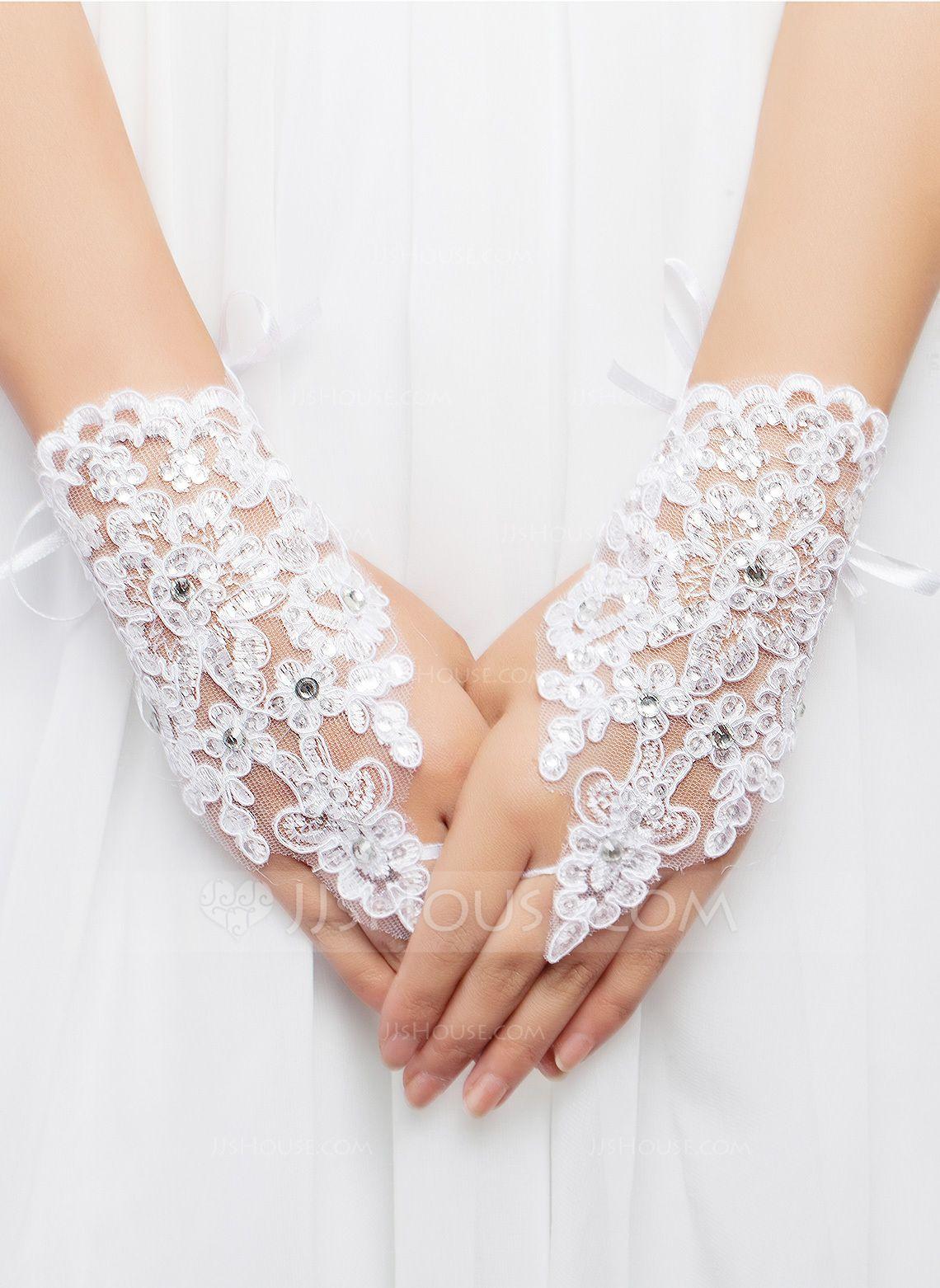 Women Light Ivory Wedding Party Bridal Wrist Lace Net Evening Short Gloves