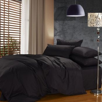 Luxury Solid Black Pure Color 100 Cotton Satin Reactive Printed Simply Modern Chic Full Queen Size Bedding Hotel Bedding Sets Black Bed Set Full Bedding Sets