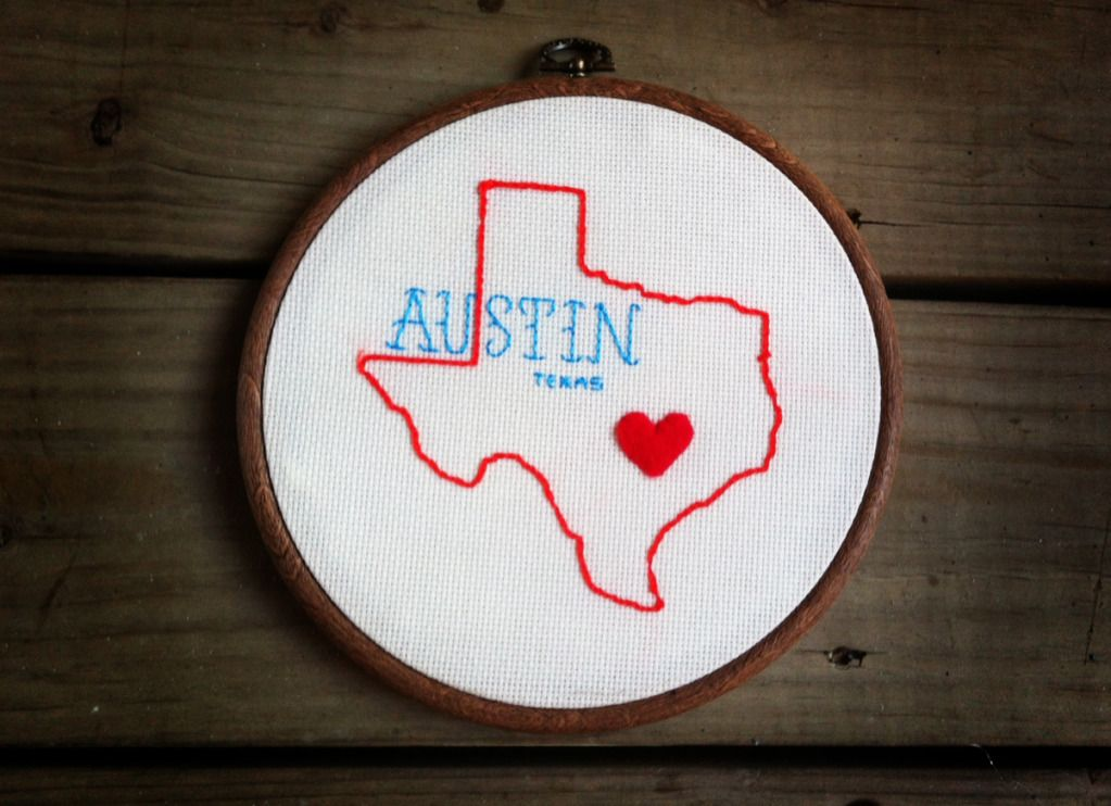 Austin Texas Embroidery Hoop Ten Feet Off Beale Embroidery