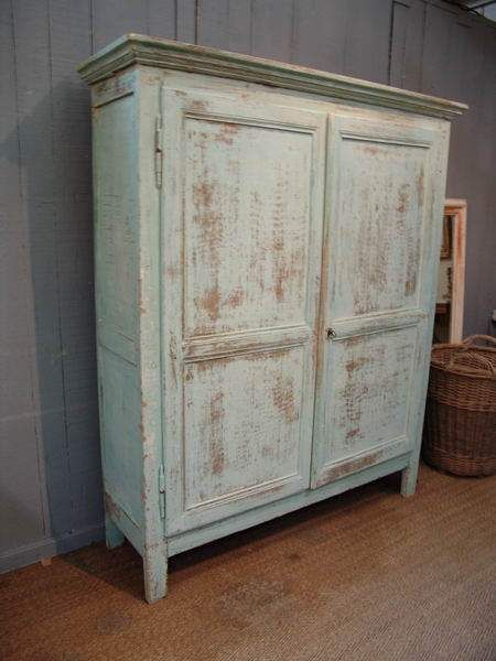 French Vintage Turquoise Armoire   SOLD