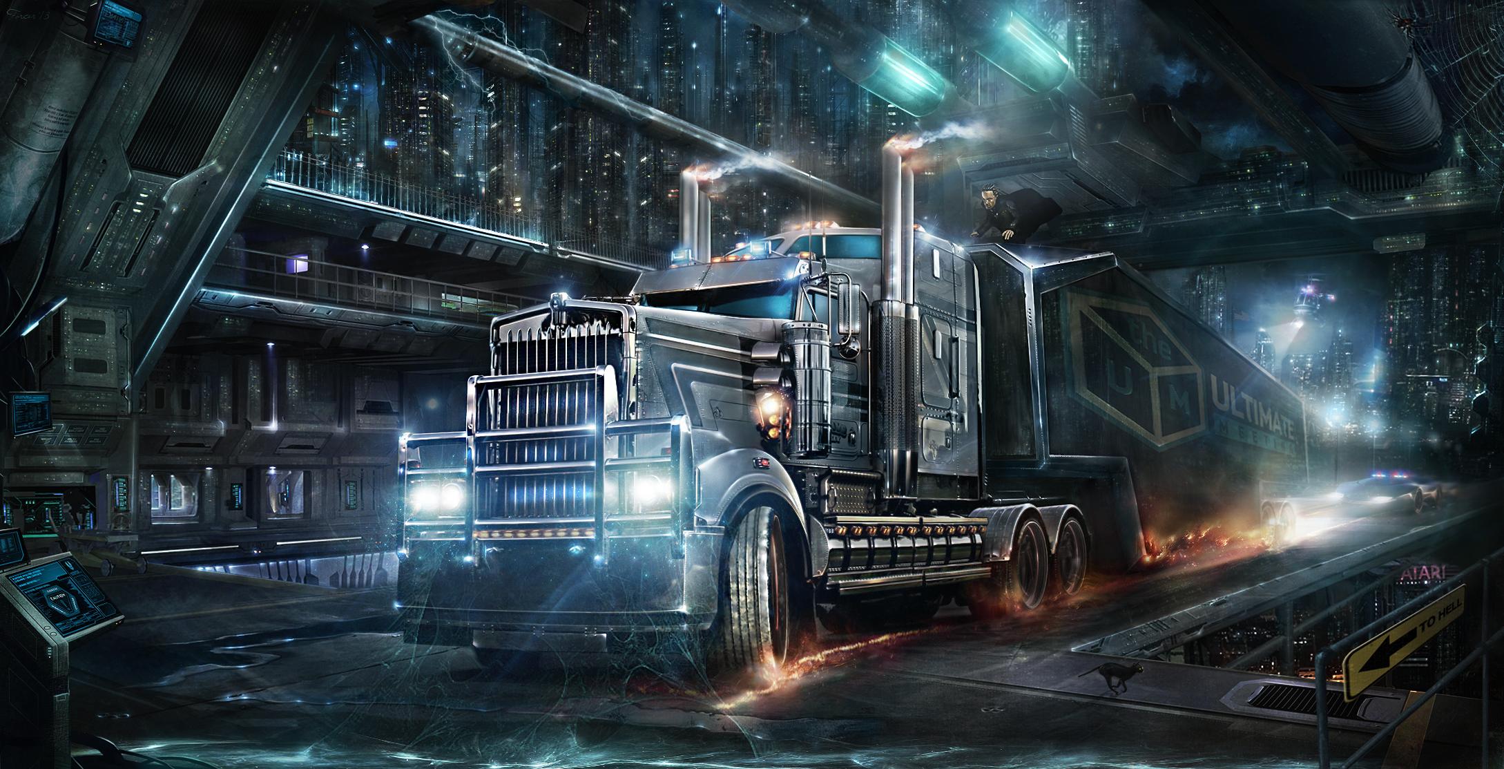 Image Result For Cyberpunk Trucks Train Illustration Truck Wallpaper Kenworth