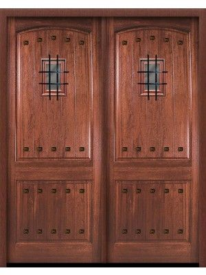 """Double Square Top 2 Panel Arch Mahogany Entry Door 8\' 0"""" Tall with ..."""