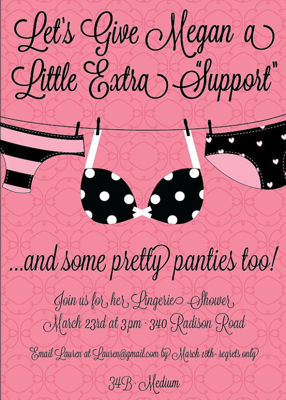 A Little Extra Support Themed Invitations Custom Lingerie