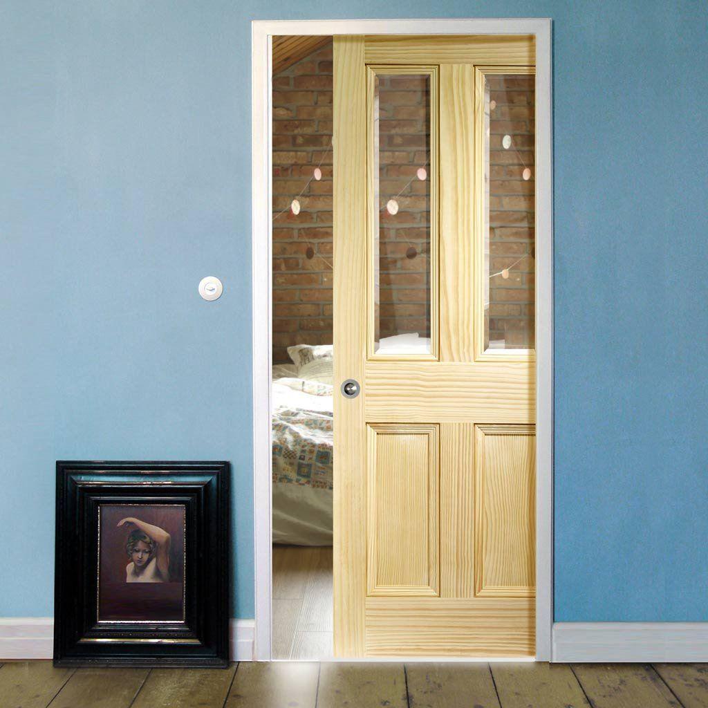 Single Pocket Edwardian 2 Panel U0026 2 Pane Door   VG Pine  Clear Bevelled Safe