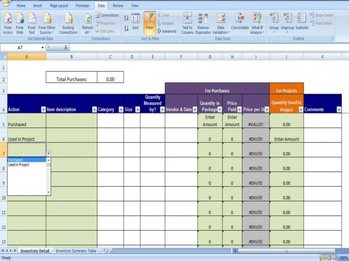 Materials Inventory Tracking Template Calculates Amount Of Materials