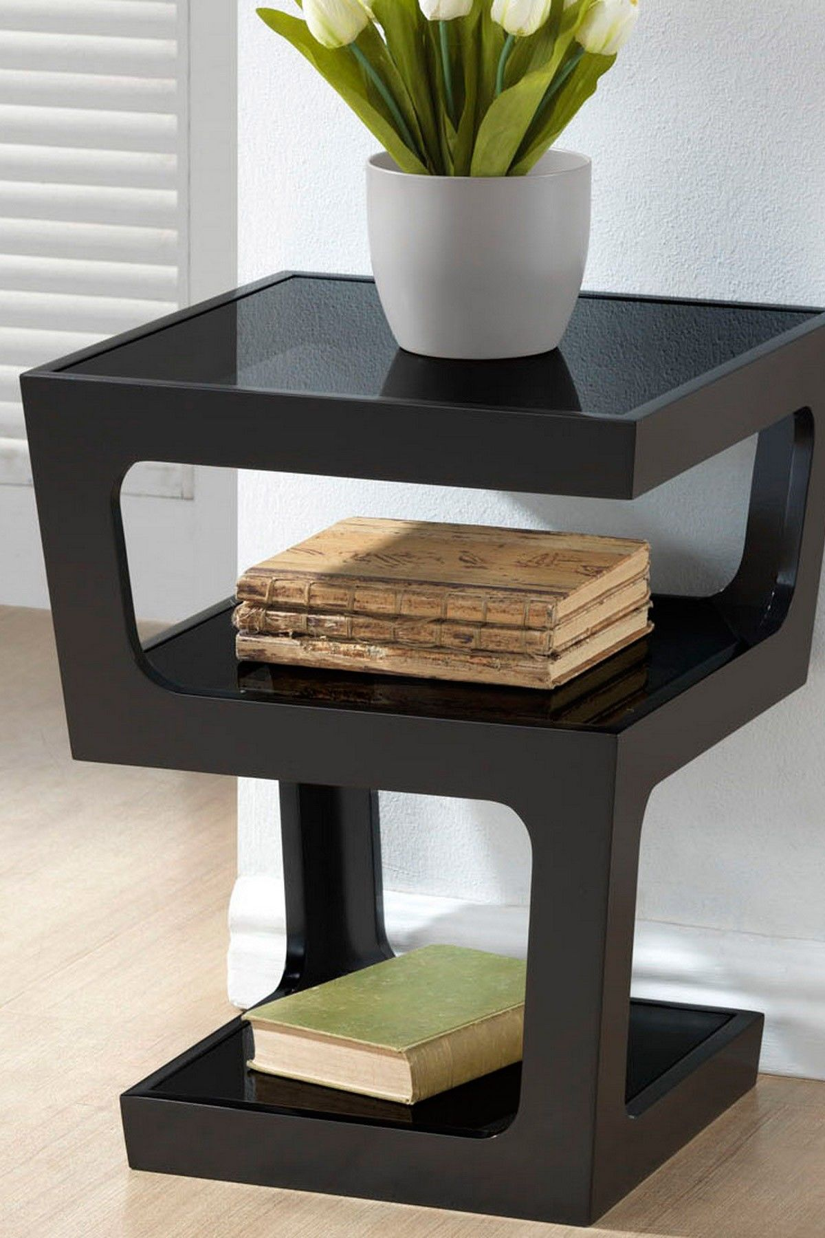 Clara Black Modern End Table With 3 Tiered Glass Shelves On HauteLook $169