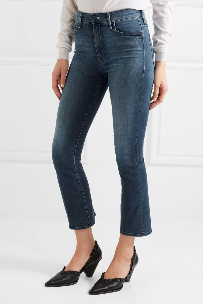 Mother Woman The Insider Crop High-rise Flared Jeans Dark Denim Size 25 Mother mYVP6