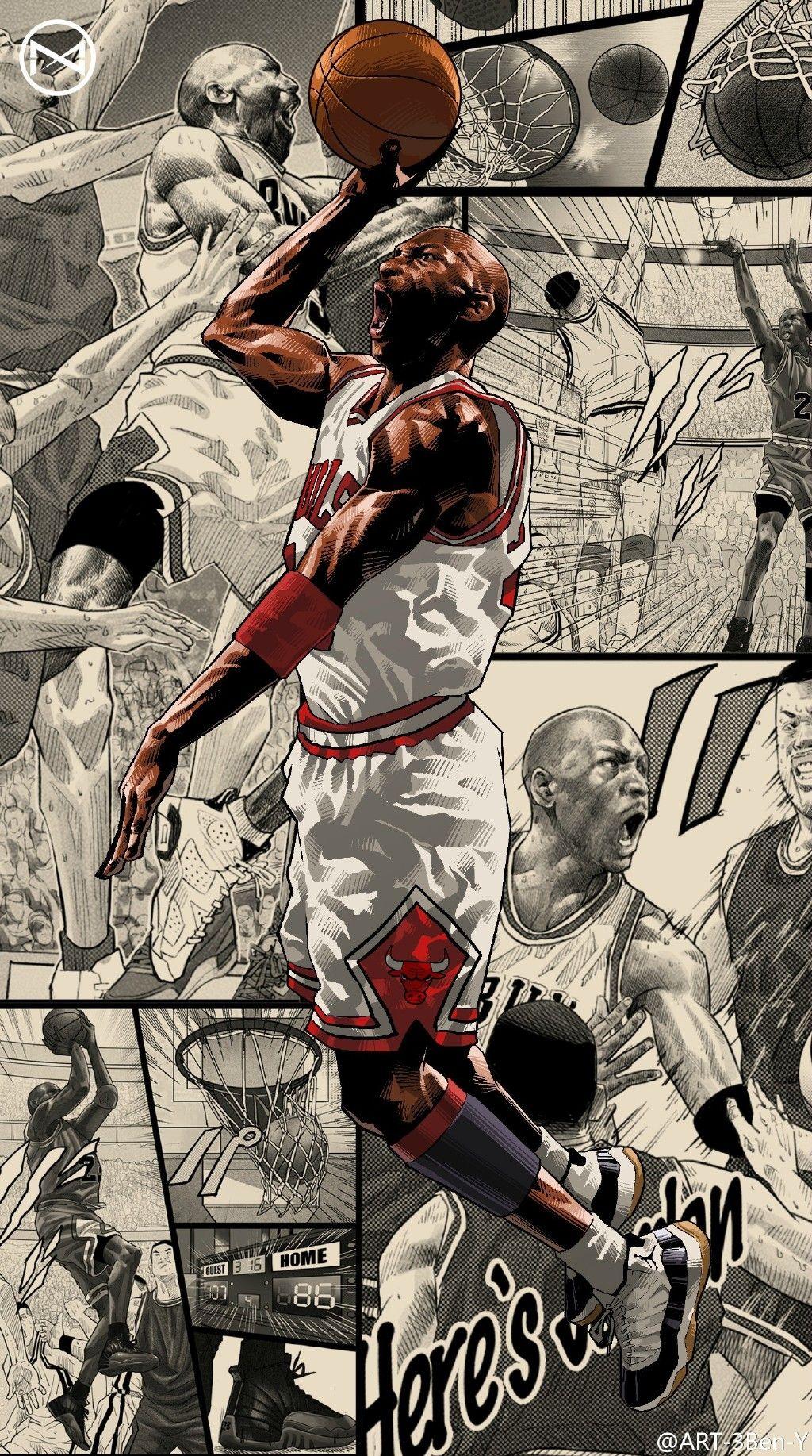 ART3BenY的微博_微博 Nba basketball art, Michael jordan art