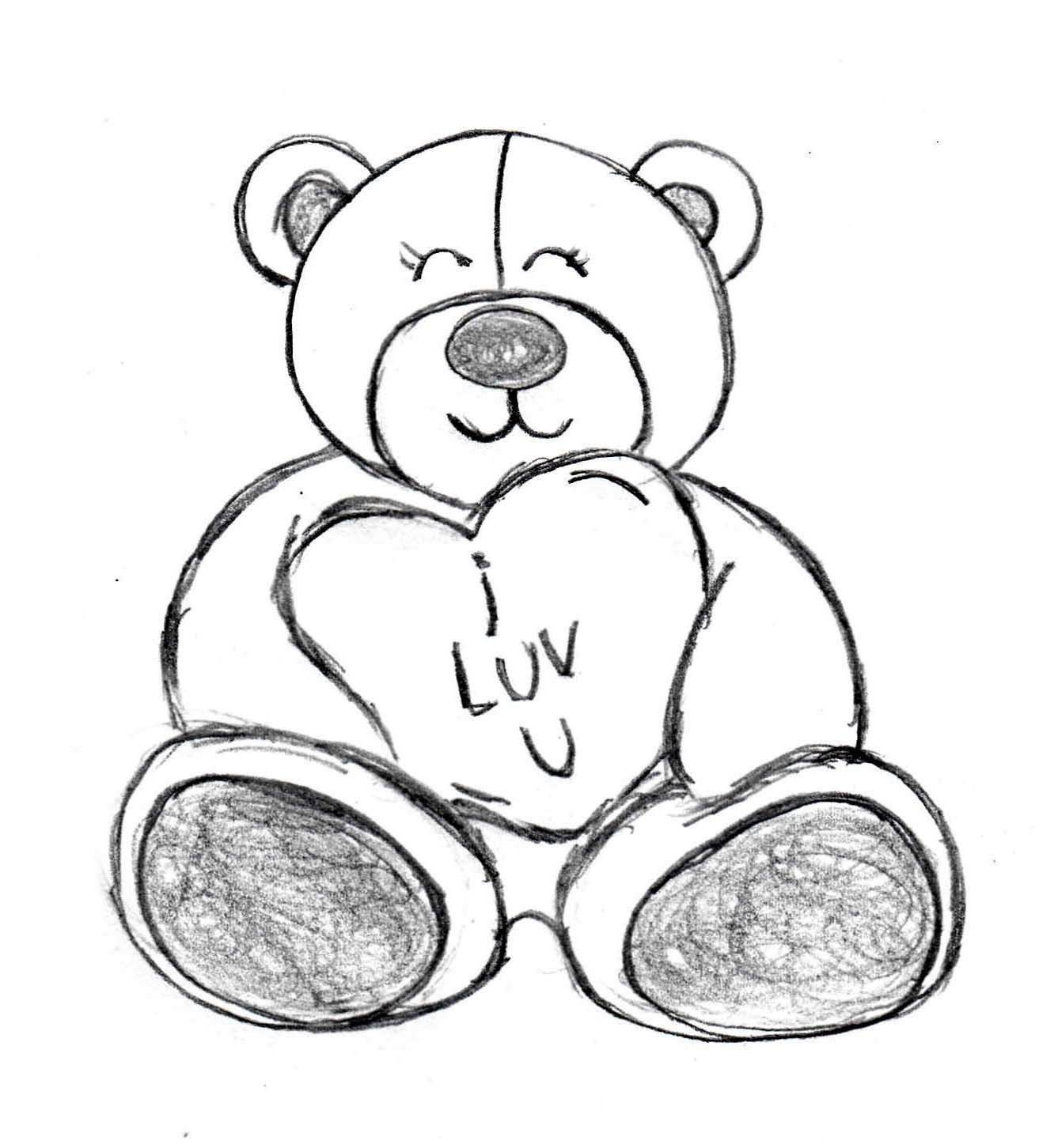Happy Teddy Bear For Valentine S Day Sketch Made By