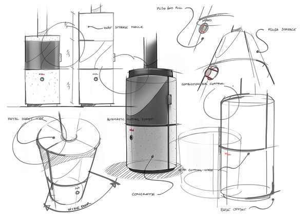 Sketches Stub Wood Stove Concept Design Ideas
