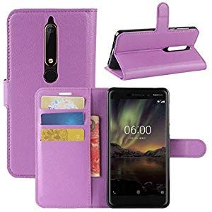 KMLP for for Nokia 6 2018 Litchi Texture Horizontal Flip Leather Case with Holder Card Slots WalletBlack Mobile Phone Cover Color  Purple PhonesCommunication PhonesCommun...