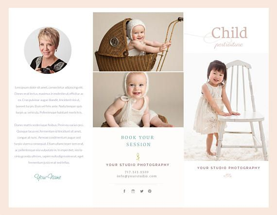 Children Trifold Brochure Flyer, Photography Guide, Photographer - sell sheet template