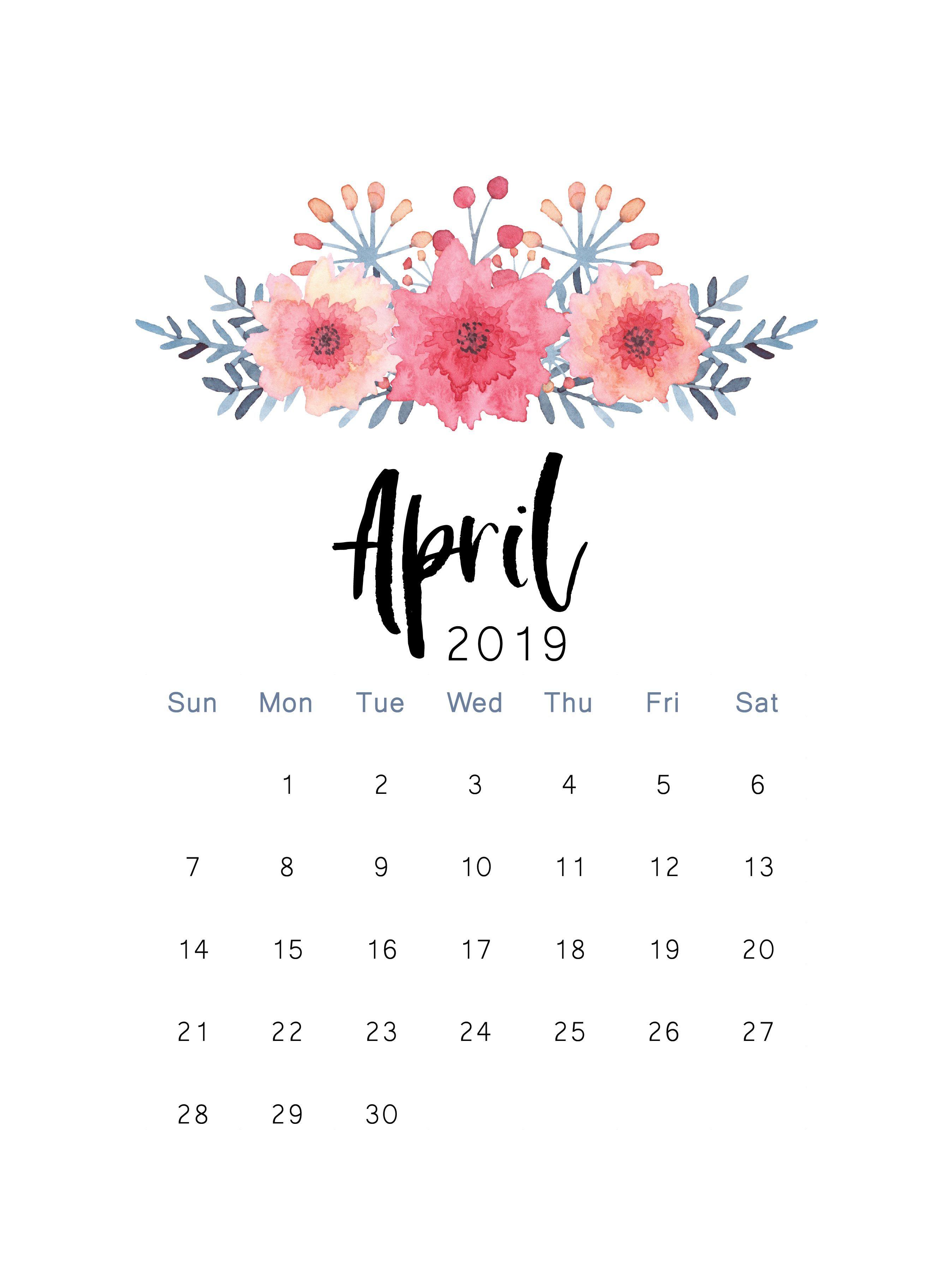 Free 2019 Printable Calendar Print Calendar April Calendar