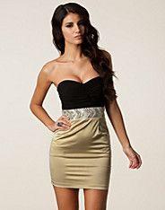 Bandeau Trim Pencil Dress - Elise Ryan - Svart/nude - Festkjoler - Tøj - NELLY.COM Mode online på nettet