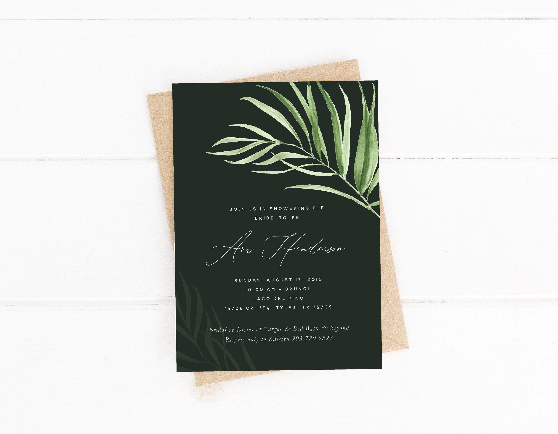 Palm Bridal Shower Invitation Tropical Bridal Shower Greenery