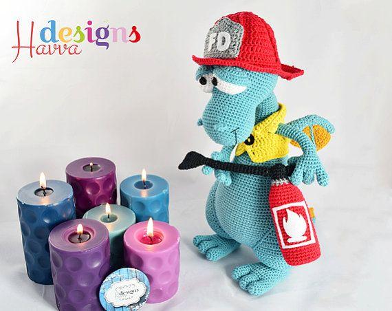 Crochet Pattern Blummy The Fireman Dragon Amigurumi Toy Pattern