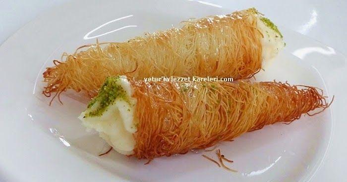 Yetur'la lezzet kareleri.com: kremalı külah kadayıf tatlısı