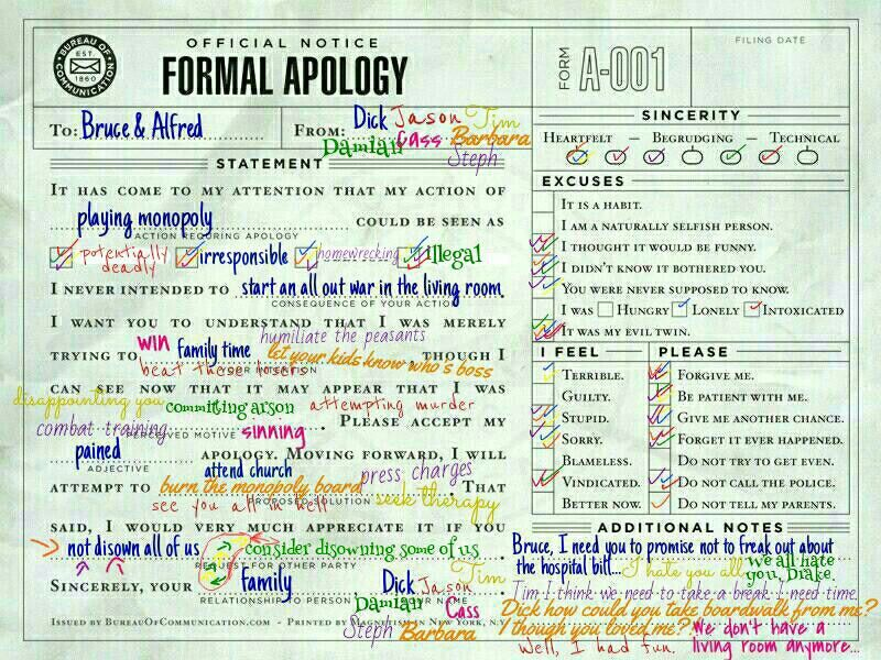 Family game nights They should stop inviting Jason And hosting - apology letter to family
