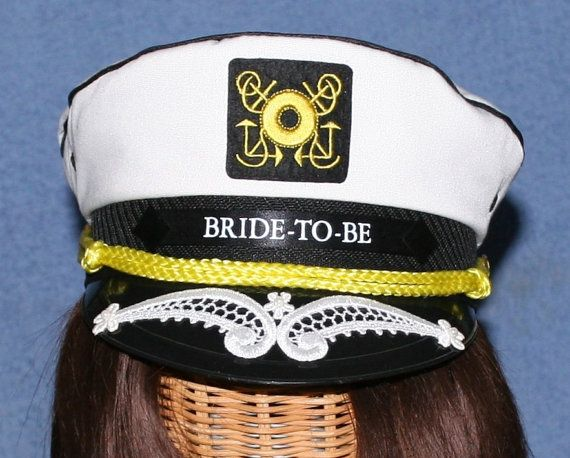 3282c1789c5 Personalized CAPTAIN S Hat with VEIL perfect for Nautical Bridal Shower