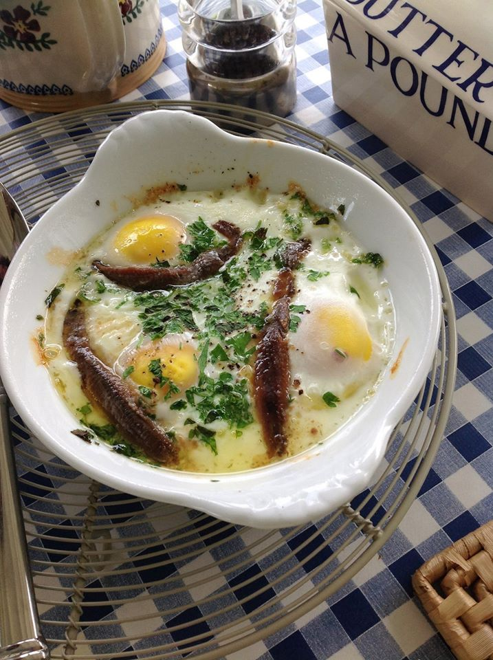 Something for the weekend - baked eggs with anchovies and all you need is some good crusty bread for dipping!