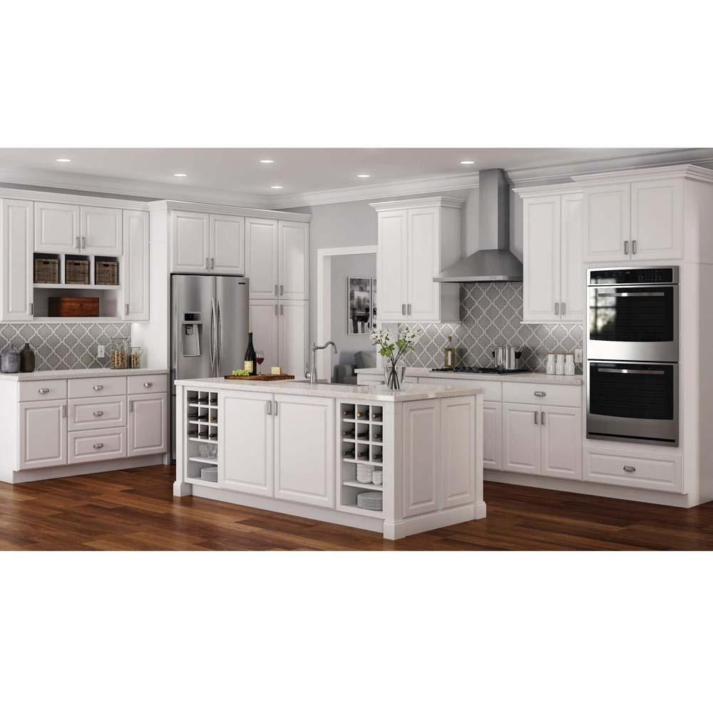 Hampton Bay Hampton Assembled 27x36x12 In Wall Kitchen Cabinet In Satin White Assembled Kitchen Cabinets Kitchen Cabinets Home Depot White Kitchen Remodeling