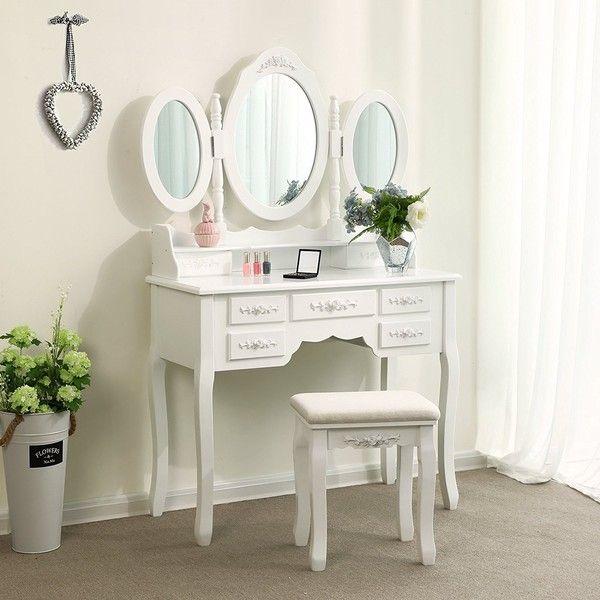 Songmics Vanity Set Tri Folding Mirror Make Up Dressing Table Padded 133 Liked On Pol