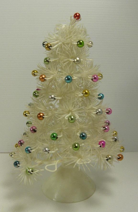 Vintage White Plastic Christmas Tree With Colorful Bulbs Hong Kong