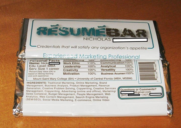 Chocolate Bar Resume Wows Employer Takes Internet By Storm With Images Creative Resume