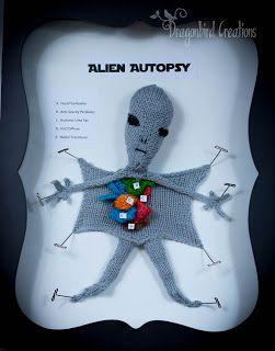 Crochet Alien Autopsy (not a pattern)