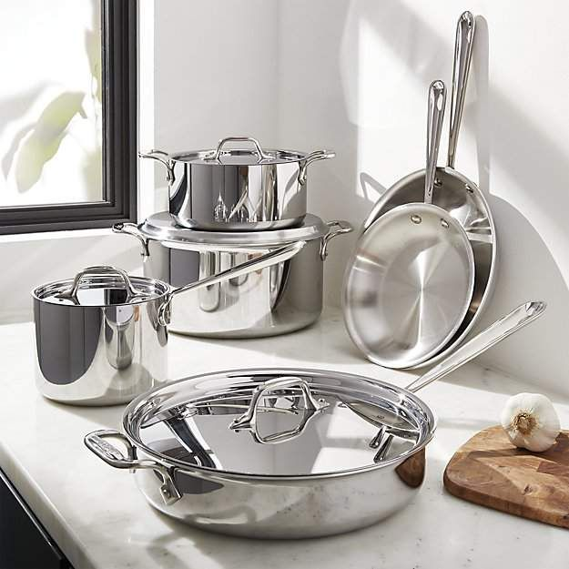 All Clad D3 Stainless Steel 10 Piece Cookware Set Reviews Crate And Barrel Cookware Set Glass Aluminium Crate Barrel