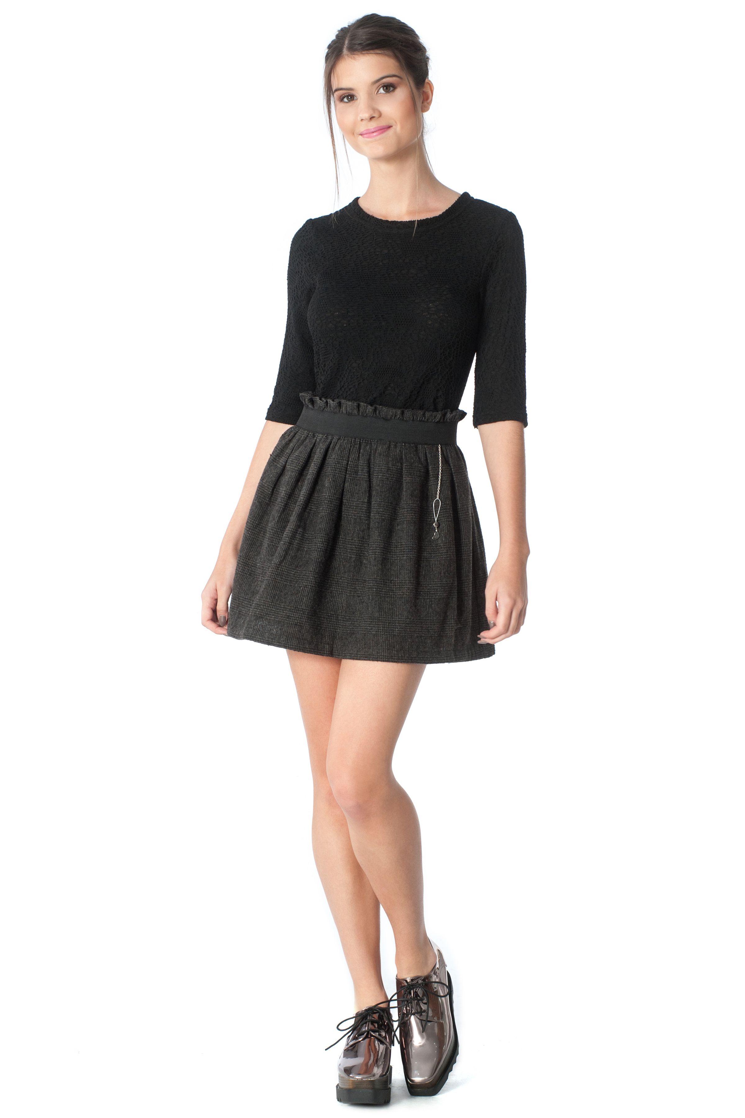 0ebf118b0b9 Γυναικεία σκούρα γκρι, προς το μαύρο, φούστα μινι με λάστιχο ...