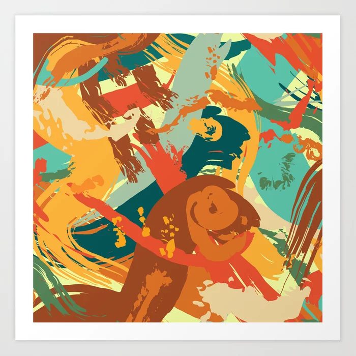 Abstract painterly artwork in a variety of sizes. Vivid Strokes in Orange and Teal Art Print by MadAlley Designs | Society6 . #brushstrokes #colortrend2020 #abstractpainting #goldandaqua #digitalartwork