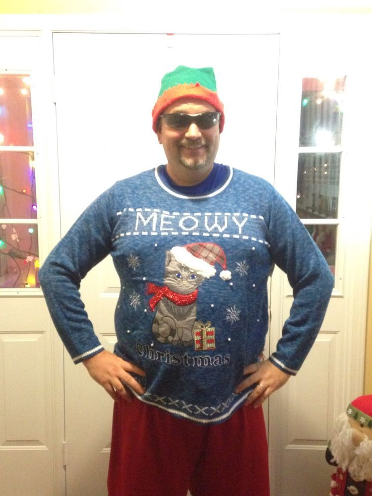 Mens 3x Ugly Christmas Sweater.The Mother Of All Ugly Christmas Cat Sweaters Women 4x Plus Men S 3x
