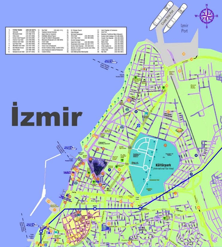 zmir hotels and sightseeings map Maps Pinterest Izmir and City