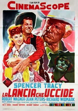 BROKEN LANCE (1954) - Spencer Tracy - Robert Wagner - Jean Peters - Richard Widmark - 20th Century-Fox - Movie Poster.