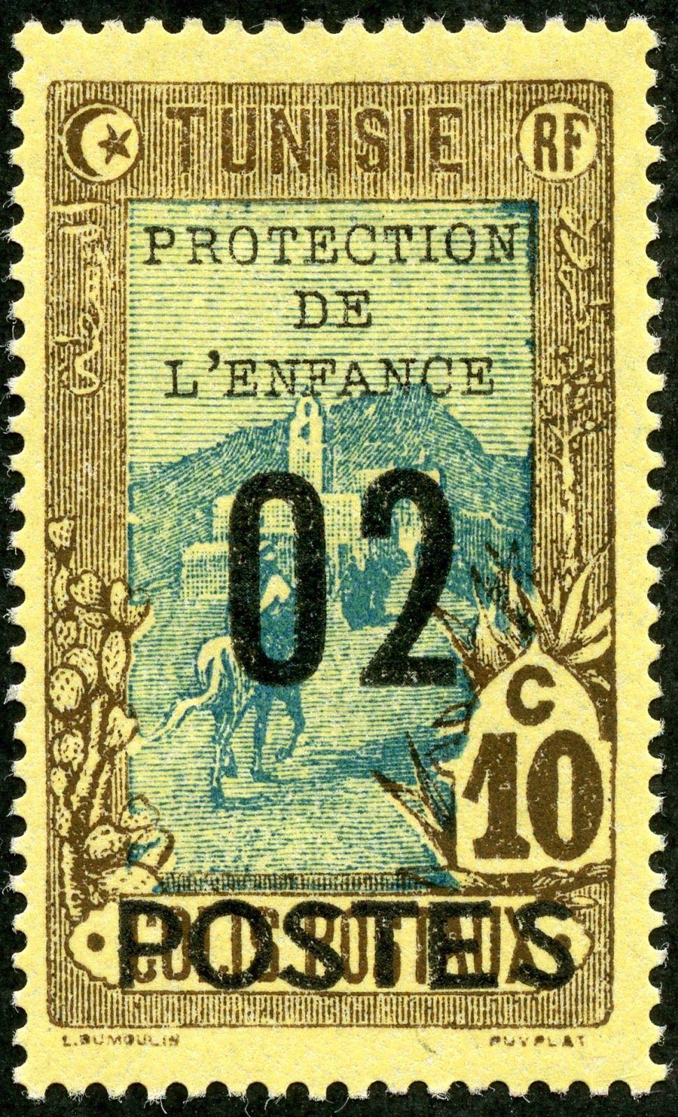 Tunisia 1925 Scott B38 2c On 10c Brown Blue Yellow Mail
