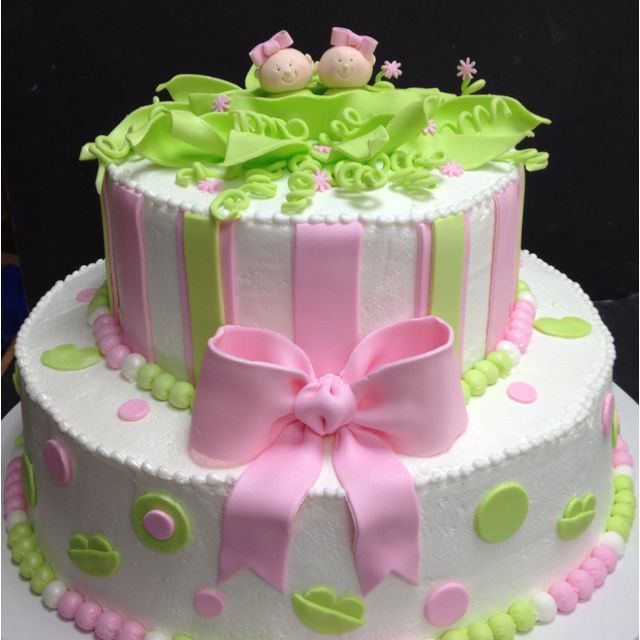 Peas in a pod cake- would have to be blue, green & pink for mel's twins- Mason & Mallory