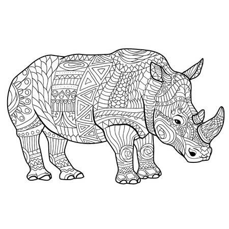 Libro Para Colorear Rinoceronte Para La Ilustracion Vectorial Adultos Libro De Colores Mandala Para Dibujar Mandalas Animales