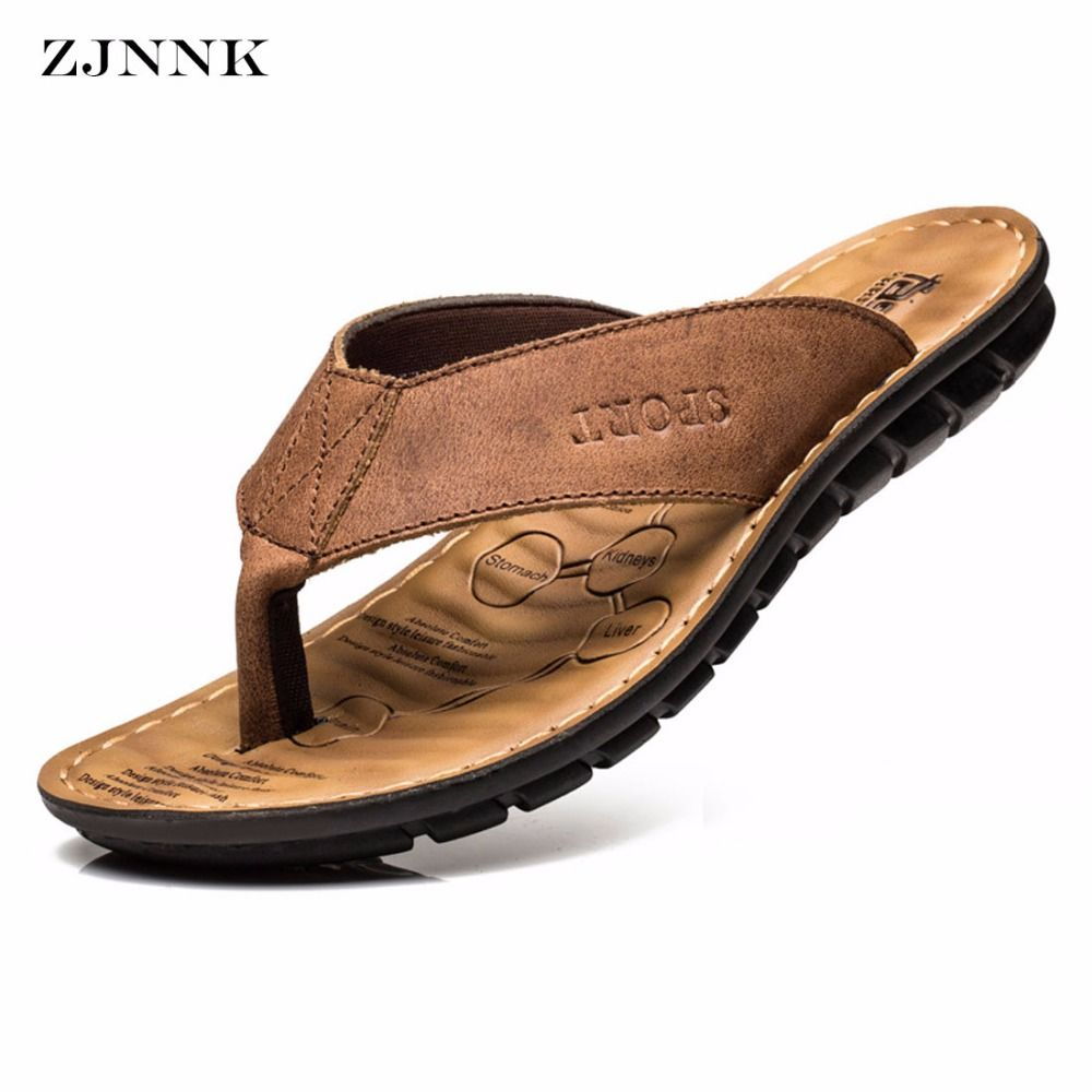 d176b426f2a ZJNNK Cow Leather Men Beach Slippers Fashion Flip Flops With Soft Sole Trendy  Breathable Easy To Match Men Summer Shoes   Price   39.98   FREE Shipping       ...