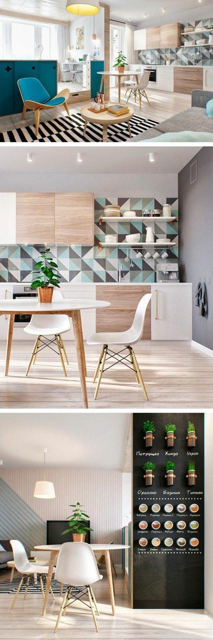 10 Kuche Dekorieren Tisch Stuhle Wanddeko Teppich Und Krauterlampe Pflanze Schwarz Kuchene Popular Kitchen Designs Modern Kitchen Design Kitchen Design